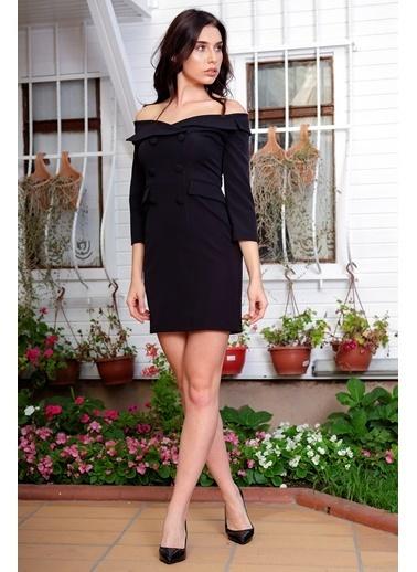 Kayık Yaka Blazer Elbise-İroni